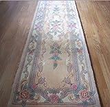 Chinois Rugs Tapis en Laine Beige Fait Main Traditionnel Design Aubusson–Chemin de Couloir 65x 210cm...