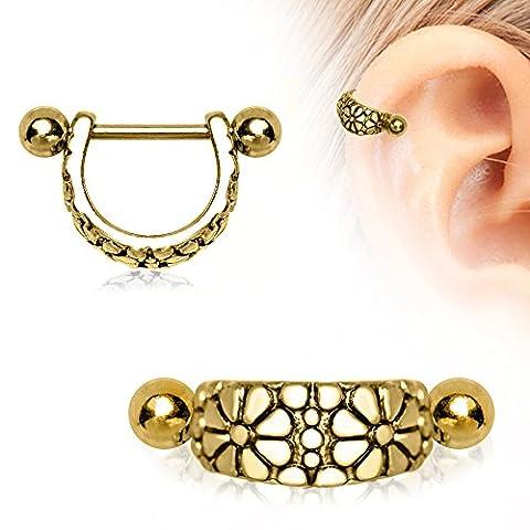 Gold überzogenes Daisy-Ohr-Stulpe 1,2 mm x 12 mm Chirurgenstahl Cartilage Stulpe Ober Ear Ohrring