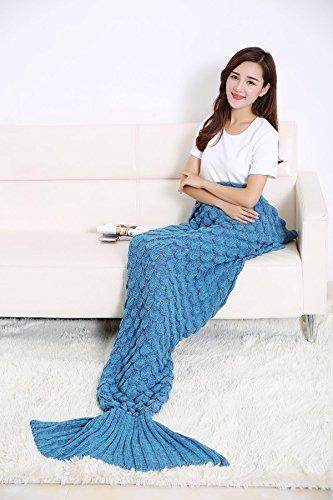 """Feililong Warm und weich Meerjungfrau Schwanz Decke von Handwerk Crochet Snuggle Cozy Fleece Sofa Bett Schlafsäcke ideal Geschenke für Familienmitglieder oder Freunde (71""""x32"""", blauer See)"""