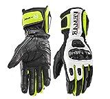 Guanti Moto Professionali in Pelle Motocross Racing Pista protezione Carbonio (L, Verde)