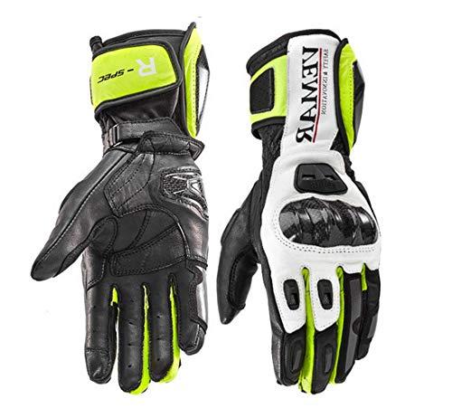 Guanti Moto Professionali in Pelle Motocross Racing Pista protezione Carbonio (XL, Verde)