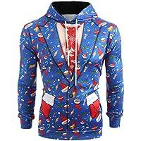 zarupeng Hombres Traje de Navidad Patrón Impresión 3D Sudadera con capucha  de manga larga Sudadera Pullover 31836f6383e6