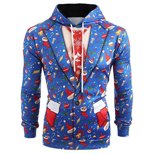 9b14c6caed17b8 KEERADS Herren Kapuzenpullover Pullover 3D Druck Weihnachtspullover  Sweatjacke Hoodie Sweatshirt (4XL, Weihnachten Blau)
