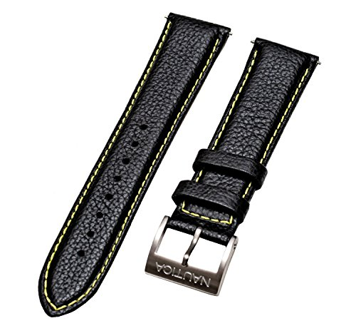 Nautica Men's NAD20504G | 22mm Black Padded Yellow Stitched Leather Original Replacement Watch Band/