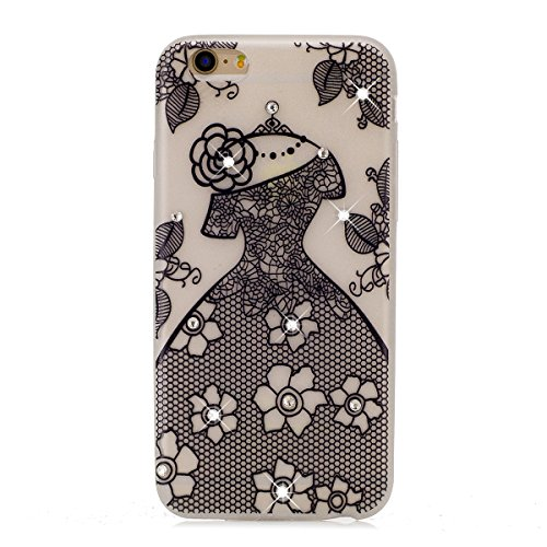 Coque iPhone 7 Plus Glitter, iPhone 7 Plus Coque Brillante, SainCat Ultra Slim Transparent TPU Case pour iPhone 7 Plus, Glitter Bling Diamante Strass Brillante Anti-Scratch Gel Housse Transparent Sili mariage noir