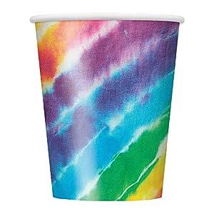 Unique Party 99106Rainbow Tie Dye de 266ml vasos de papel, pack de 8