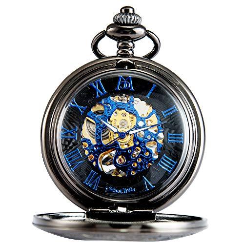 ManChDa Unisex Vintage AntikeTaschenuhr Kette Schwarz Taschenuhr, Vintage-Stil, Taschenuhr mit Kette,Geschenk zum Geburtstag (Männer Pocket-uhren Für Steampunk)