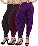 Fashion And Freedom Women's Pack of 3 Black, Purple And Maroon Viscose Dhoti