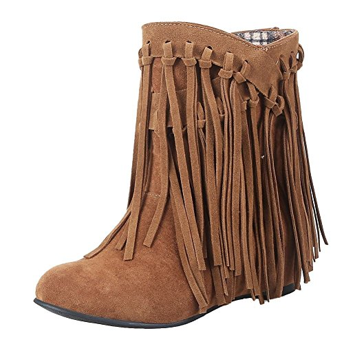 YE Damen Keilabsatz Ankle Boots High Heels Stiefeletten mit Fransen 4cm Absatz Elegant Schuhe