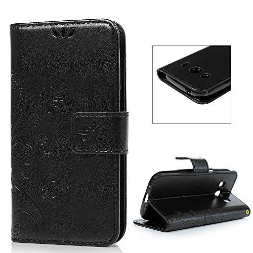 Samsung Galaxy Ace 4 SM-G357FZ Etui Cuir-Etui à Rabat Portefeuille de Carte Slots Support Case Cover Housse-ZSTVIVA [Style d'Impression] Noir
