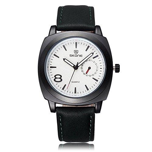 SKONE Herren Luminous Analoge Uhr Special Kalender PU Leder Band 505903(weiß)
