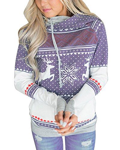 Tomwell Damen Unisex Rudolph Drucken 3D Nase Pom Pom Weihnachts Pullover Violett DE 40 (Purple Pants Knit)