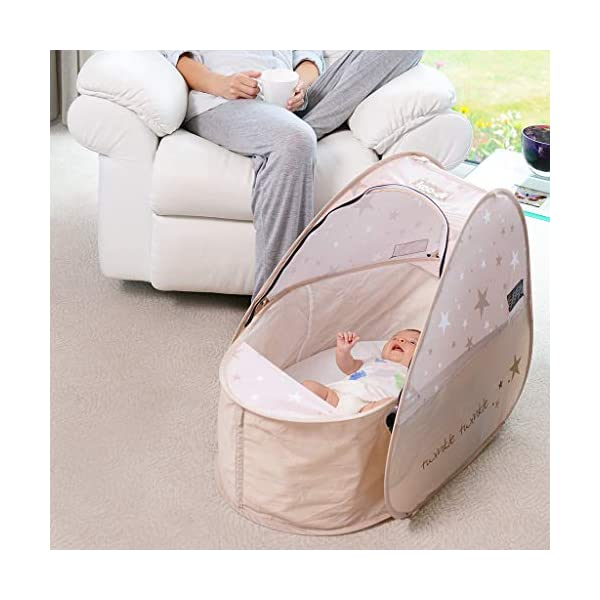 Koo-di Sun & Sleep Pop-Up Lightweight Compact Travel Bassinette Includes Mosquito Net, Sunblind and Padded Mattress - Twinkle - Suitable from 0-6 Months Approx Katies Playpen - Baby Best Buys The Sun & Sleep Pop Up Travel Bassinet is quick and easy to use. Weighing less than 1kg, it is ideal for holidays, weekends away or even a day at the beach! Suitable for use at home or in the garden too, the Sun & Sleep Pop Up Travel Bassinet is the perfect solution for restful sleep where ever your little one is. Folds easily into a compact carry bag measuring only 28cm wide. 2