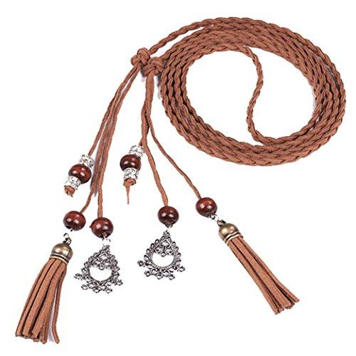 WINWINTOM Mujeres Moda folk Custom Borla colgante cintura cinturón trenzado (Marrón A)