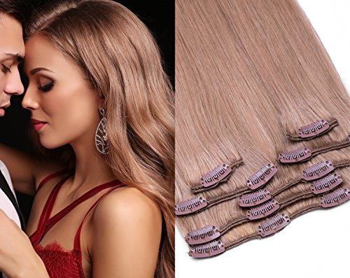 (Remy Clip In Extensions Set 100% Echthaar 7 Teilig 70 Gramm Hochwertige Haarverlängerung und Haarverdichtung in 40cm Länge Clip-In Hair Extension Nr. 18 Dunkelblond)