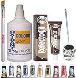Eyelash Eyebrow Tint Dye Kit: Refectocil tint, glass dish, eyebrow brush, oxidant 100ml 3% (No.3 Natural brown)