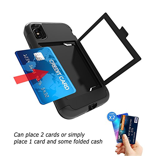 """iPhone X Mirror Case, Women Makeup Portable Hidden Mirror Three Layer Defender Cover With Card Slots Cash Pocket VMAE Protective Phone Case for iPhone X/iPhone 10 5.8"""" - Red Black"""