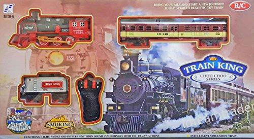 idreamtrader Classique Locomotive Télécommande Circuit de Train de W/Lumière et Son respectueux de L'Environnement, L'Huile de Fumer, Suivi de Taille Environ 78x 103cm