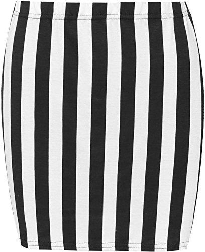 WearAll - Damen Bedruckt Dehnbar Jersey Figurbetontes Kurz Mini-Rock - Schwarzer Weißer Streifen - 40-42 (Streifen Stretch-rock)