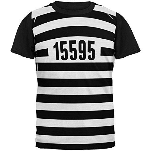 Halloween Gefangenen alten Zeit gestreifte Kostüm ganz zurück T-Shirt Herren schwarz Multicoloured