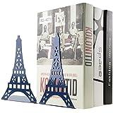 Ein Paar Creative Paris Eiffelturm Buch Organizer Metall Buchstützen für Kinder Schule Bibliothek Schreibtisch Studie Home Office Dekoration Geschenk blau