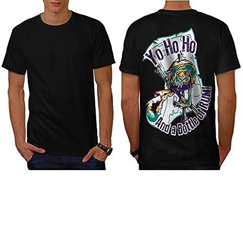 Rum Bottle Fun Pirate Skull Ghost Men NEW Black L T-shirt Back | Wellcoda