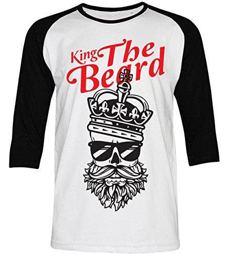 PALLAS Unisex's King the Beard Vintage Funny T Shirt WhiteBlack 3/4Sleeve