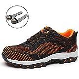 SUADEEX Damen Herren Sicherheitsschuhe Sportlich Trekking Wanderhalbschuhe Stahlkappe Arbeitsschuhe Hiking Schuhe Traillaufschuhe, 04-orange, 39 EU