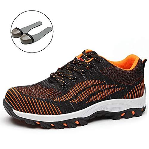 SUADEX Damen Herren Sicherheitsschuhe Sportlich Trekking Wanderhalbschuhe Stahlkappe Arbeitsschuhe Hiking Schuhe Traillaufschuhe  44 EU,  04-orange