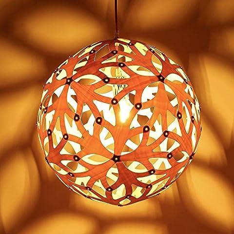 Fx@ La manera creativa de la lámpara de madera maciza cubierta de madera ligero de habitaciones Hotel Restaurant colgante de dormitorio de la lámpara , Diameter 60CM