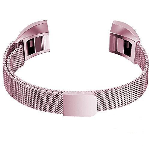 Fur Fitbit Alta Watch Strap Fitbit Alta Hr Armband, PUGO TOP Milanaise Edelstahl Armbanduhren Watch Band Armband Fur Fitbit Alta (Large,Rose Pink)