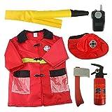 Enfants Jeu De Rôle Ensemble Costume Penchée Faire semblant Déguisement Halloween et Assessories,3-7 Ans - Pompier, One Size