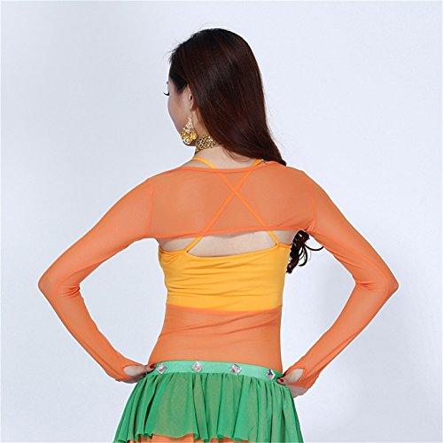 FaithYoo Damen modisch T-Shirt dark green Shawl Einheitsgröße orange Shawl