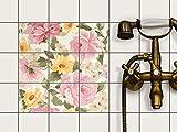 creatisto Fliesen-Dekor, Badezimmerfliesen | Fliesenfolie Sticker Aufkleber Bad Küche ergänzend zu Kühlschrankmagnet Innendekoration | 10x10 cm Muster Ornament Vintage Flowers - 9 Stück