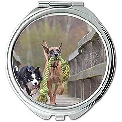 Yanteng Spiegel, Schminkspiegel, Malinois und Border Collie Belgischer Schäferhund, Taschenspiegel, tragbarer Spiegel