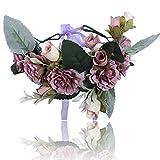 Boho Einstellbar Blume Stirnbänder Krone - Handarbeit Haarkranz Halo Blumengirlande Krone Kopfstück mit Band Festival Hochzeitsfeier (Lila)