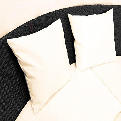 Deuba Poly Rattan Sonneninsel oval 226cm schwarz mit faltbarem Sonnendach | 7cm dicke Sitzauflagen creme | 3 bequeme Kissen - Sonnenliege Gartenliege Liegeinsel Lounge Liege Gartenmöbel - 4