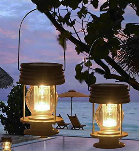 obell solare lanterne 2confezione da giardino lampada led vintage luci solari da appendere con manico per sentiero yard patio decor tree beach pavilion luci effetto anticato warm light