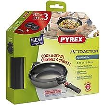 Pyrex Attraction - Set de 2 sartenes antiadherentes con mango extraíble y asa (apta para todos los fuegos, 24/28 cm)