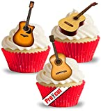 vorgeschnittenen Akustische Gitarre essbarem Reispapier/Waffel Papier Cupcake Kuchen Dessert Topper Party Geburtstag Hochzeit Musik Dekorationen