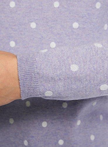 oodji Ultra Damen Gerader Pullover mit Rundhalsausschnitt Violett (8012D)
