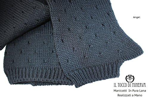 Schwarze Armlinge in reine Wolle perforiert Handgefertigt Made in Italy- handgefertigt - handgemacht - Mädchen Geschenk Mädchen - Geschenke für sie - Weihnachten