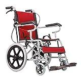 MTX Ltd Ältere Menschen Liefern Rollstuhl Faltbaren Leichtgewichtsrollstuhl, Aluminiumrollstuhl, Manueller Rollstuhl, Faltender Reisendollstuhl, Justierbares Pedal,rot,A
