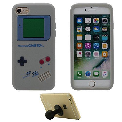 Pour iPhone 7 Plus 3D Console de Jeu Portable Forme Coiffant Mode Silicone Gel Doux Slim Ultra Fine Coque Case Etui de Protection pour iPhone 7 Plus 5.5 inch ( Blanc ) avec 1 Silicone Titulaire gris