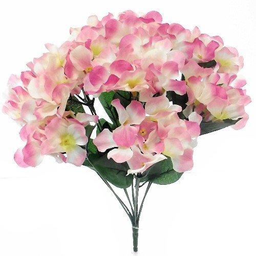 A1-homes 2bouquet di ortensie in seta artificiale, dimensioni: 35cm, 11 gruppetti di fiori/steli, fiori primaverili per tombe/casa