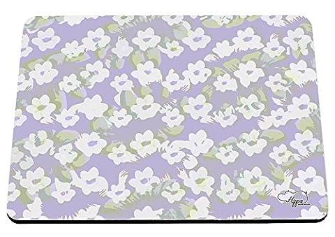 hippowarehouse Vintage Daisy Blumenmuster bedruckt Mauspad Zubehör Schwarz Gummi Boden 240mm x 190mm x 60mm, Lime and Lilac, Einheitsgröße