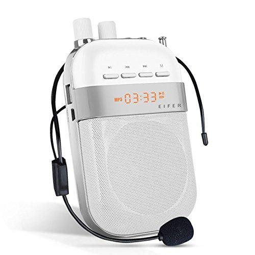 Tour Guide Kostüme (LeaningTech Tragbar Voice Amplifier Verstärker PA System mit verdrahtet Headset Microfon, Wiederaufladbar, Lautsprecher, FM Radio, MP3 Player, Zeitanzeige unterstützt TF Karte und U)