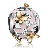 925Sterling Silber Emaille Magnolia Bloom Charms mit Schmetterling vergoldet für europäische Schlange Kette Armbänder
