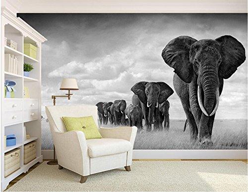 Malilove 3D Wallpaper Personalizado Murales Fotográficos En Blanco Y Negro Los Elefantes...