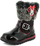 New Girls/Childrens Black Minnie Mouse Boots In Patent With Fur Trim - Black Patent - UK SIZES 6-12
